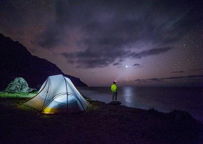 Camping Urlaubsplanung mit Luftbett und die Flugverfolgung der Familie über das Flugradar